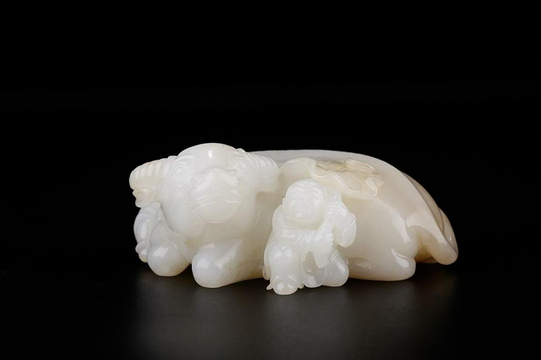 HETIAN WHITE JADE 'BOY AND OX' ORNAMENT