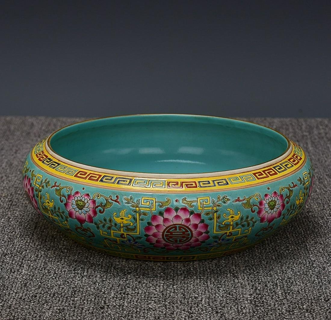 TURQUOISE GROUND FAMILLE ROSE 'FLORAL' WASHING BOWL,