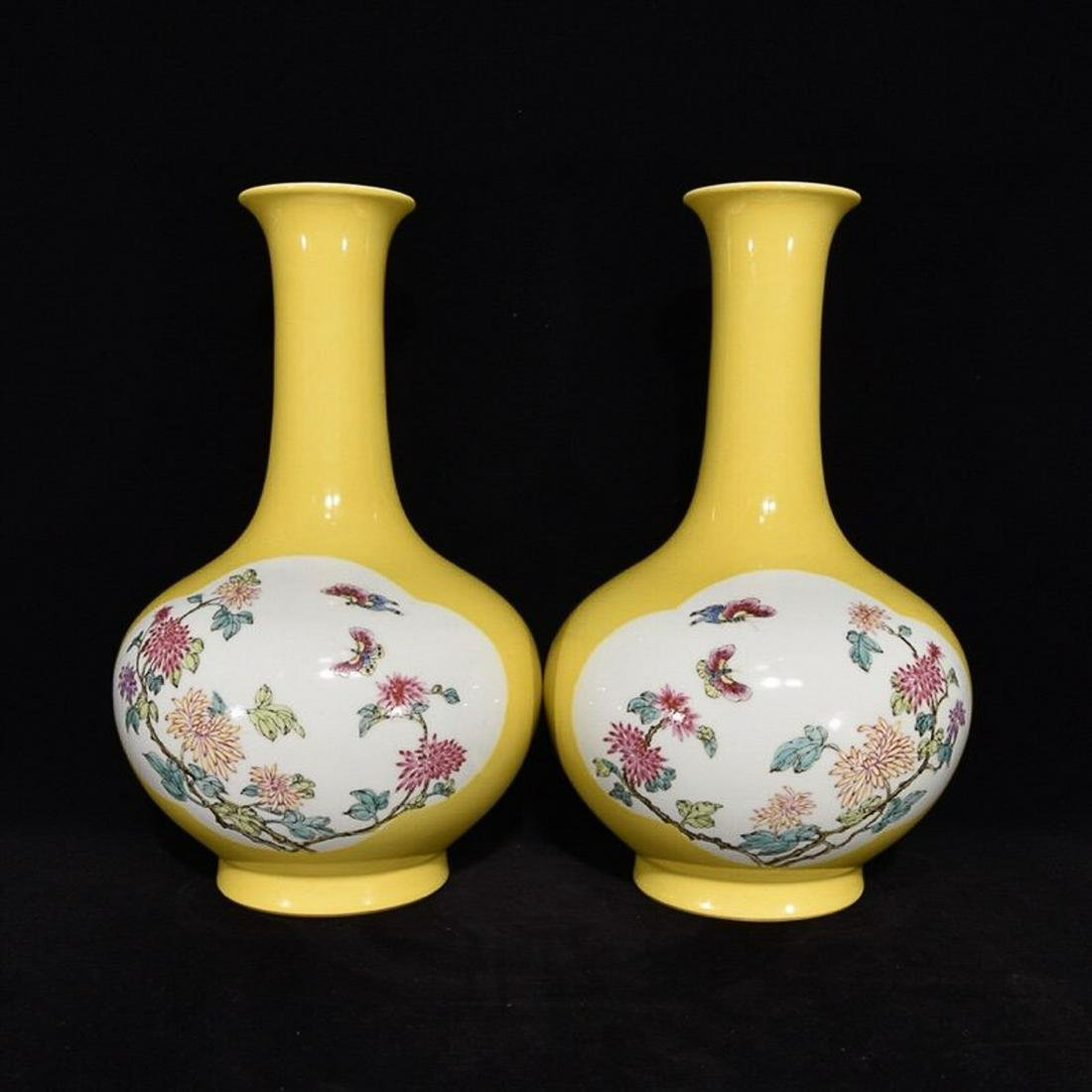 YELLOW AND FAMILLE ROSE 'FLORAL' VASE, QIANLONG PERIOD