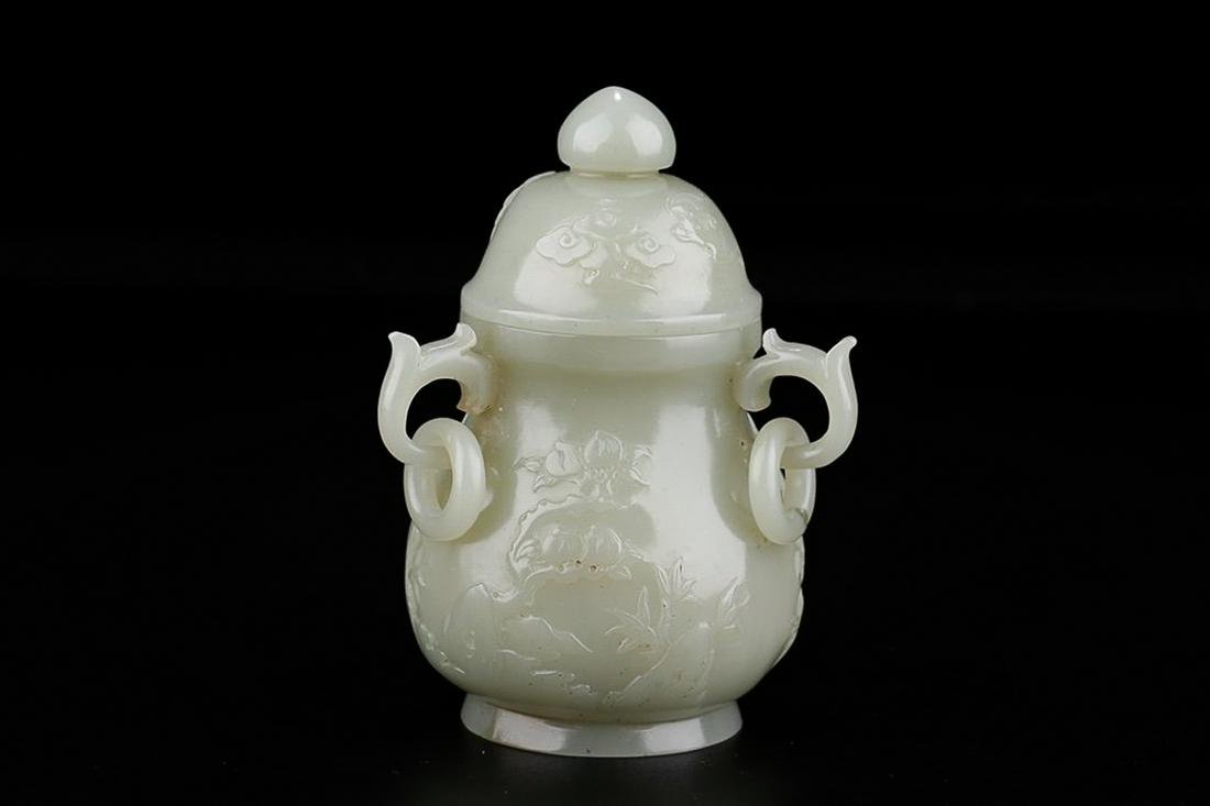 HETIAN WHITE JADE BOTTLE WITH HANDLES AND LOOSE RINGS