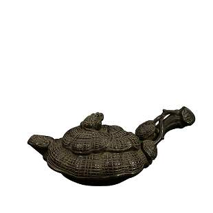 GANODERMA FORM TEAPOT WITH 'CHEN MING YUAN' INSCRIBED
