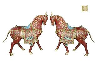 PAIR OF CLOISONNE ENAMEL ORNAMENTS OR HORSE