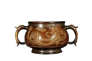 PARCEL GILT COPPER ALLOY CENSER CAST WITH DRAGONS AND