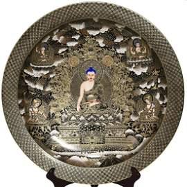 BLACK GLAZED AND GOLD 'THANGKA BUDDHA' CHARGER