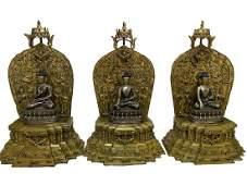 GILT COPPER ALLOY FIGURES OF TRAI-LOKYA BUDDHAM