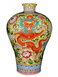 PAINTED 'DRAGON IN FLORAL' MEIPING VASE
