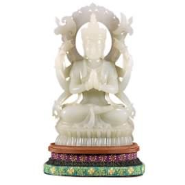 HETIAN JADE FIGURE OF BUDDHA