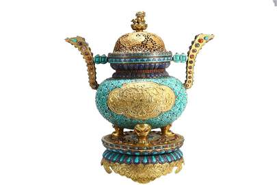 TURQUOISE STONE INLAID GILT COPPER ALLOY INCENSE CENSER