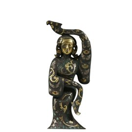 GOLD AND SILVER-INLAID BRONZE FIGURE OF MAIDEN