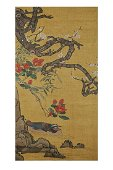SILK EMBROIDERY TAPESTRY OF 'BIRD AND FLOWER'