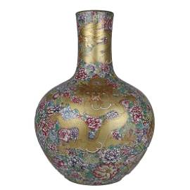 GILT-DECORATED FAMILLE-ROSE 'DRAGON  AMONG  FLOWER'