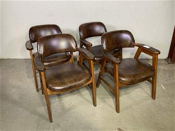 Lot of 4 Mid-Century leather & wood Wayne Shelby chairs