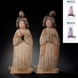 A PAIR LARGE PAINTED POTTERY FIGURE OF A COURT LADY