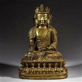 A FINELY CAST GILT-BRONZE OF BUDDHA MAITREYA