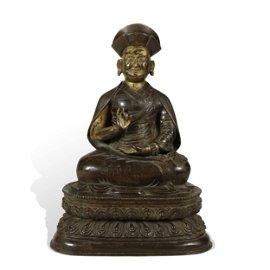 TIBETAN VERY RARE BRONZE BUDDHIST FIGURE OF MASTER