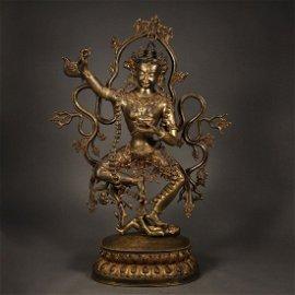 ANCIENT TIBETAN  GILT-BRONZE BUDDHA STATUE