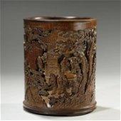 ANCIENT CHINESE,BAMBOO CARVING BRUSH POT
