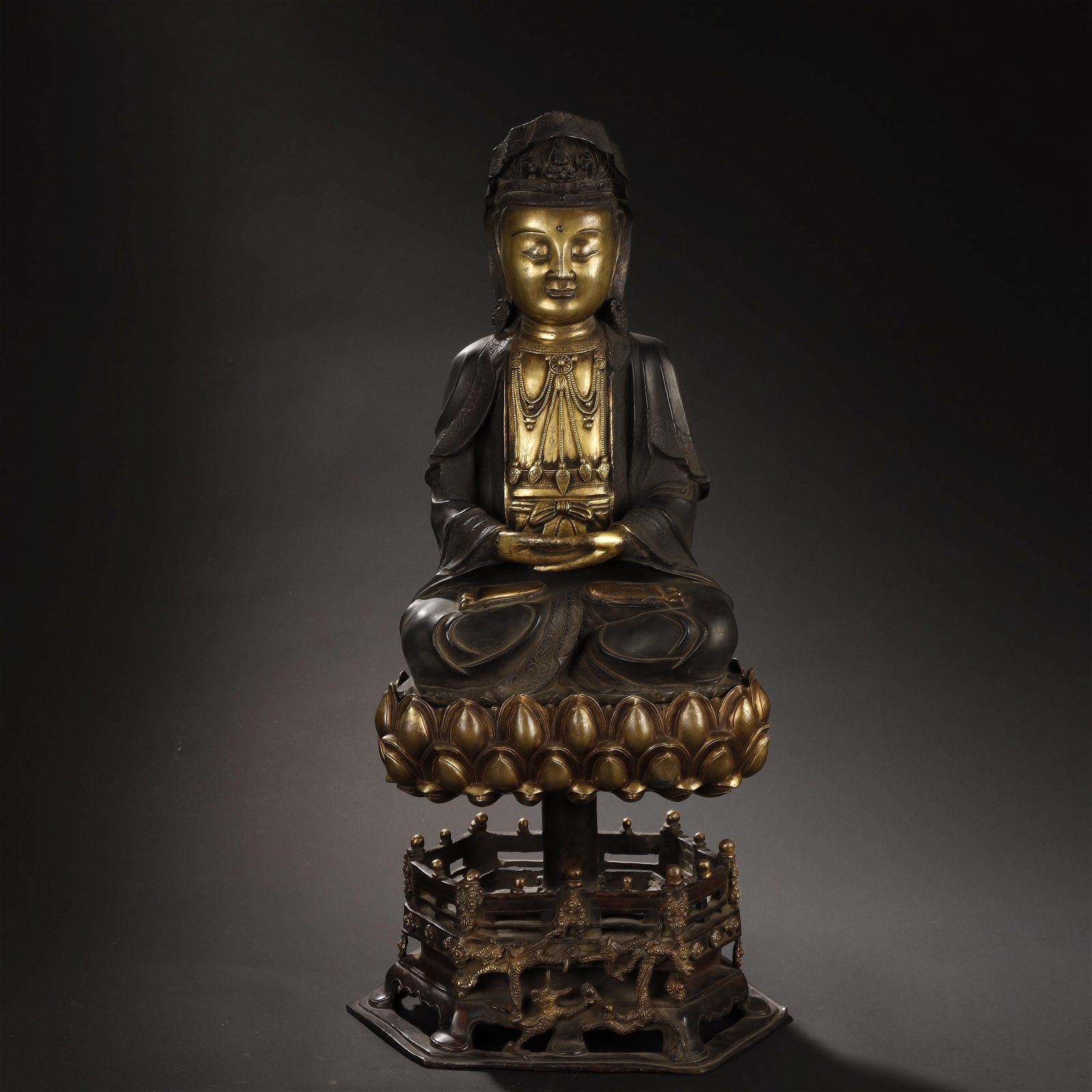 MING DYNASTY GILT-BRONZE BUDDHA STATUE