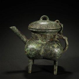 ANCIENT CHINESE,BRONZE RITUAL WINE VESSEL
