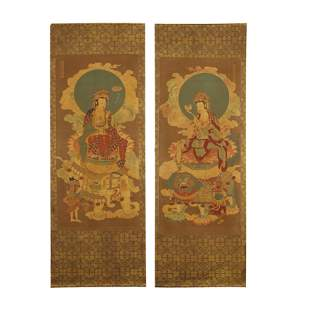 """MING DYNASTY,A PAIR OF LARGE AND RARE KESI """"WENSHU"""