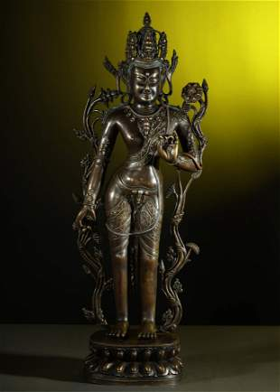 OLD TIBETAN SILVER-INLAID ALLOY BRONZE BUDDHA