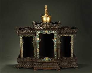 QING DYNASTY,A RARE LARGE CLOISONNE ENAMEL INLAID