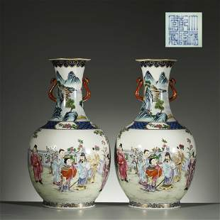 QING DYNASTY,A PAIR OF FAMILLE-ROSE VASES