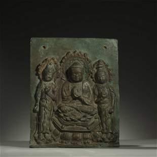 MING DYNASTY,A FINE BRONZE BUDDHA STATUE PANEL