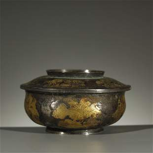 TANG DYNASTY,PARCEL-GILT SILVER BOX AND COVER