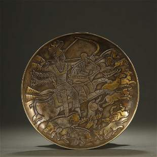 ANCIENT CHINESE,PARCEL-GILT SILVER CARVED DISH