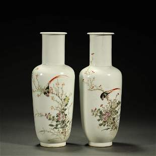 19TH CENTURY,A PAIR OF FAMILLE-ROSE VASES