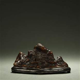 QING DYNASTY,CHENXIANG WOOD CARVED LANDSCAPE