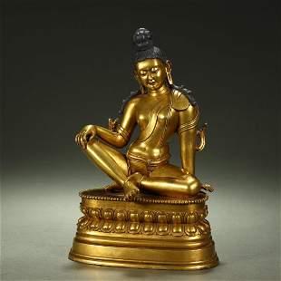 A FINE AND RARE GILT-BRONZE BUDDHA STATUE,QING DYNASTY