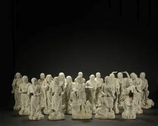 A SET OF EXTREMELY RARE WHITE GLAZED BUDDHA STAYUE,QING
