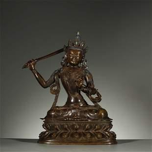 QING DYNASTY,A FINE ALLOY COPPER BUDDHA STATUE