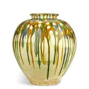 ANCIENT CHINESE SANCAI POTTERY JAR,TANG DYNASTY
