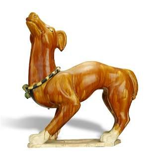 SANCAI-GLAZED POTTERY DOG,TANG DYNASTY