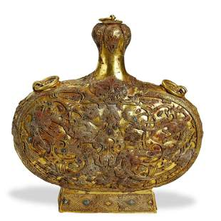 TANG DYNASTY,A FINE TURQUOISES-INLAID GOLD FLAT BOTTLE