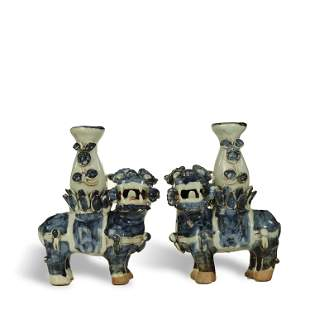 MING DYNASTY,A PAIR OF BLUE AND WHITE GLAZED