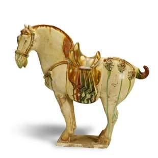 TANG DYNASTY,SANCAI-GLAZED POTTERY HORSE