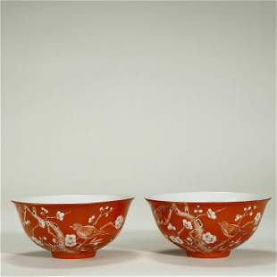QING DYNASTY,A PAIR OF CORAL-RED GROUND BOWLS