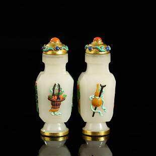 A PAIR OF HARDSTONE-INLAID JADE SNUFF BOTTLES AND