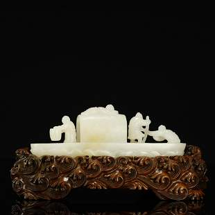 QING DYNASTY,HETIAN JADE CARVED ORNAMENT