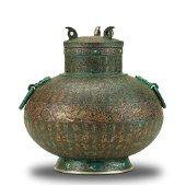 A RARE GOLD AND SILVER-INLAID WINE VESSEL WARRING