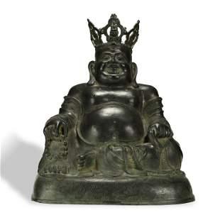 A LARGE BRONZE BUDDHA STATUE,MING DYNASTY