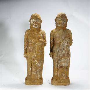 NORTHERN WEI DYNASTY,A PAIR OF PAINTED POTTERY WARRIORS