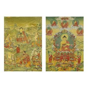 QING DYNASTY,A SET OF EMBROIDERED SILK TANGKAS