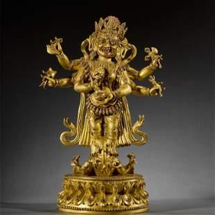 A RARE GILT-BRONZE BUDDHA STATUE,MING DYNASTY