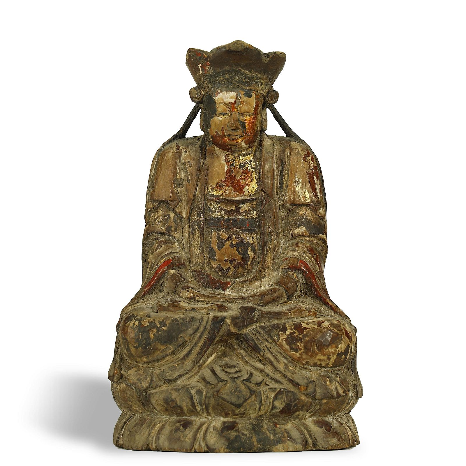 QING DYNASTY,GILT-LACQUERED WOOD BUDDHA STATUE