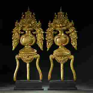QING DYNASTY,A PAIR OF GILT-BRONZE RELIGIOUS WEAPONS